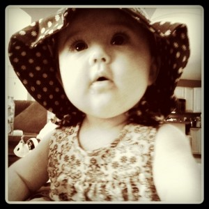Avery in her matching outfit and hat